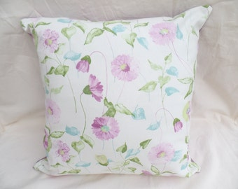 "Clearance Pink, purple, dusky pink, cream decorative flowered 16"" cushion cover,  pillow, scatter cushion."