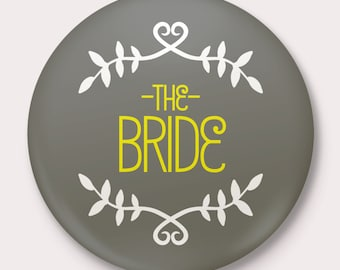 Grey and Yellow Wedding, Rehearsal, Engagement and Bachelorette Party Name Tag Buttons, customize name and colors