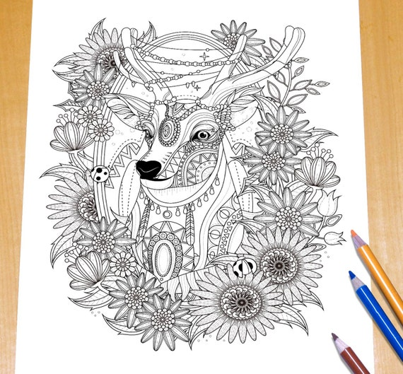 Adorable Deer Adult Coloring Page Print