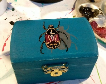 Blue Bug Box, Little Painted Jewelry Box, Nature Inspiered