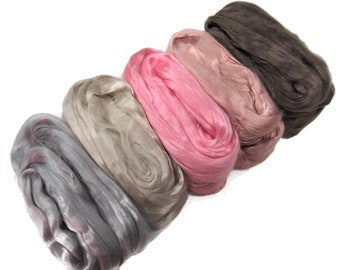 Mulberry Grade AA Silk roving palette, 3.5oz (100g) ,color: Vintage Mix