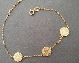 gold or silver triple phaestos phaistos disc bracelet, 925 sterling silver