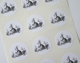 Rabbit Bunny Stickers One Inch Round Seals