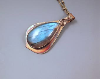 Blue Labradorite Teardrop- Rainbow Patina- Metal Art Pendant- One of a Kind- Labradorite Necklace