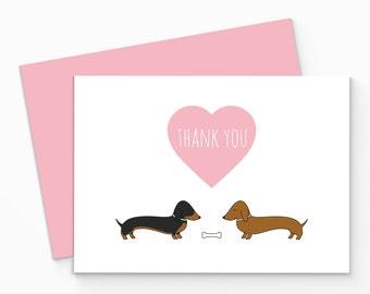 Printable Dachshund Thank You Card - Digital Sausage Dog Thank You Card - Dachshund Thank You Notecard - Dachshund Greeting Card