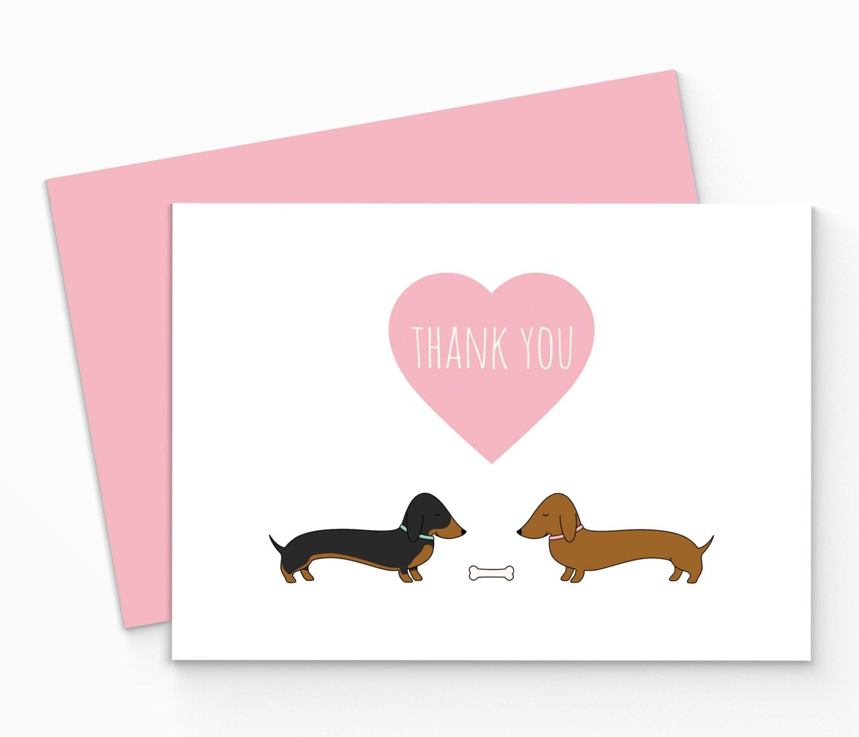 Top Printable Dachshund Thank You Card Digital Sausage Dog Thank NO28