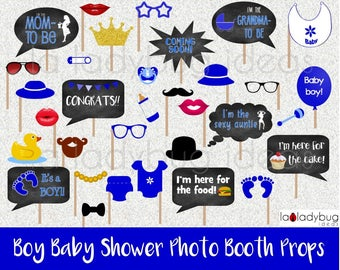 Baby shower selfie station props for Boy. Photo props picture signs. Printable. DIY photo props. Instant download. PDF digital file.