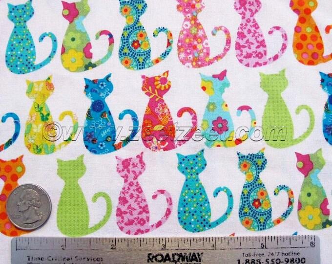 "Michael Miller CALICO CAT White Cotton Quilt Fabric - Precut Remnants - 8""L x 45""W, Quarter Yard, Fat Quarter Fq Cats Kitties CX-4911"