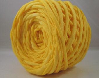 T Shirt Yarn, Hand Dyed, Sunshine Yellow, 60 Yards, Yellow T-Shirt Yarn, Yellow Tshirt Yarn