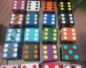 Yard Dice! Yard Yahtzee 6 dice included. Farkle, Jumbo Yahtzee.  Great for Gifts, Camping, Weddings, Birthdays, Christmas! Laminate Sheets