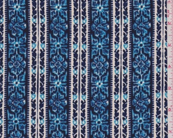 Deep Blue/Beige Floral Wallpaper Stripe Crepe, Fabric By The Yard
