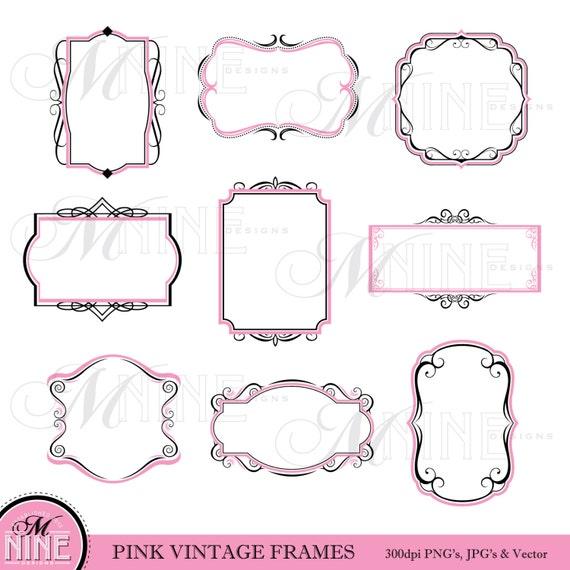 Frame Clipart Pink Black VINTAGE FRAME Clip Art Download Border Design Elements From MNINEDESIGNS On Etsy Studio