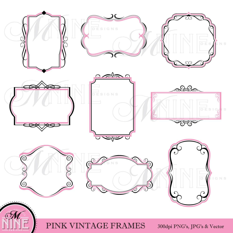 Frame Clipart Pink Black VINTAGE FRAME Clip Art