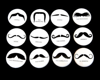 Mustaches Set of 12 - Pinbacks Buttons Badges 1 inch - White