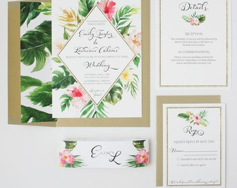Tropical Palm Wedding Invitations - Pink and Green - Wedding Invitations - Tropical Palm Collection Deposit
