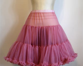 1950s soft nylon two layer petticoat || 50s fluffy 2-layered crinoline