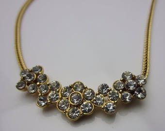 Vintage Jewellery Necklace Signed Monet Clear Rhinestone Multiple Floral Design Gold Tone Metal Herringbone Chain 1980s Length 16.5 Inches