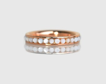 pearl ring, rose gold engagement ring, pearl ring rose gold, rose gold ring, rose gold wedding band, pearl wedding ring, June birthstone