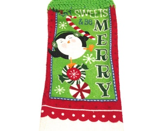 Eat Sweets & Be Merry Penguin Christmas Hand Towel With Spring Green Crocheted Top