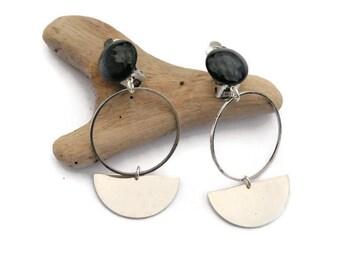 Silver Earrings,  Modern Earrings, Blue earrings, Geometric blue earrings, Large statement wedding earrings, Clip on earrings, Gift For Her