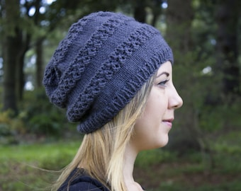 Dark Gray Slouchy Knit Hat - Grey Vegan Hat - Boho Hat - Hipster Hat Hippie Hat Womens Tam - Mens Beanie - Acrylic Hand Knit - Gift For Her