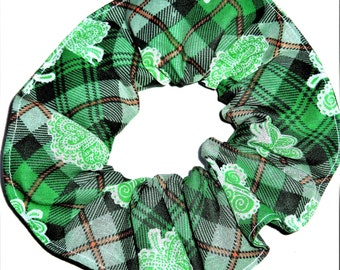 St Patricks Day Fabric Hair Scrunchies by Sherry Green Plaid