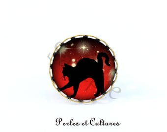 Moon Black Cat Halloween vintage gift idea black white red cabochon ring