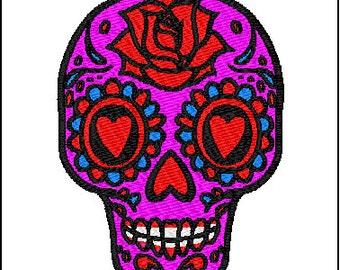 Sugar Skull Embroidery Design 2 sizes
