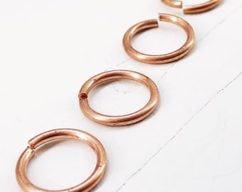 """Huge 1/2"""" Copper Jump Rings 14g Jumprings 1/2"""" ID, Saw Cut Open, Solid Copper 17mm Findings"""