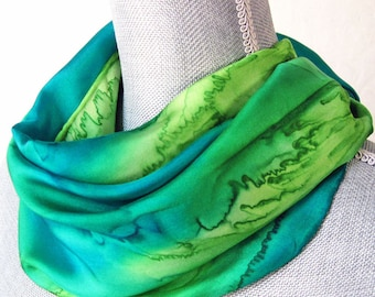 Silk Scarf Handpainted in Peridot and Teal Greens