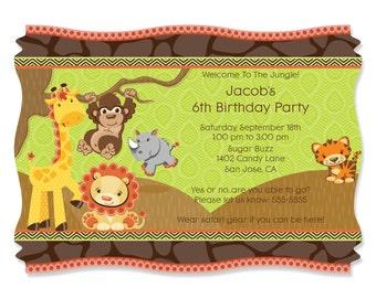 Safari Jungle Party Invitations - Custom Birthday Party Printed Invites - Set of 12