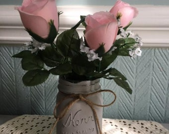Painted Mason Jar with Pink Flowers