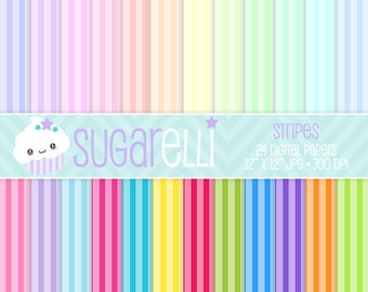 Stripes Digital Paper Pack Bright & Pastel Colors 24 Scrapbook Papers Kawaii Stripe Instant Download Commercial Use