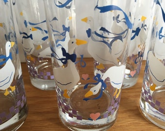 Geese Glasses - Set of 6 - Gaggle of Geese Glasses - 1980s - Country - Drinking Glasses