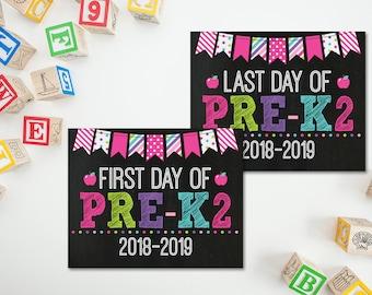 Ersten Tag der Pre-K2 PreK Schild ausdrucken 1. Tag des 1. Tag der Schule Tafel 2018/2019, Kita Zeichen, zurück zu Schule-Zeichen