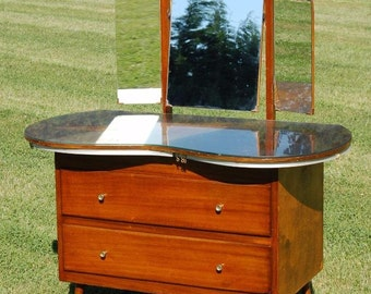 Vintage Retro Kidney Shaped Dressing Table with Mirrors & Glass Top