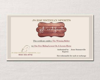 Gift Certificate ~ Custom Design for your Business or Event