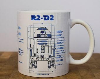 R2D2 Blueprint Mug, Star Wars Mug, 11oz