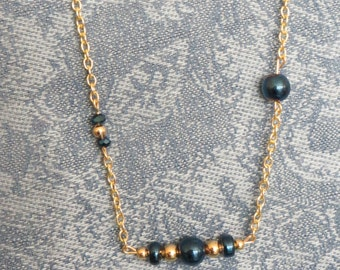 """GP Blue Cobalt glass and gold beaded chain necklace, 18"""", GN-41.  Bracelet and Earrings available."""