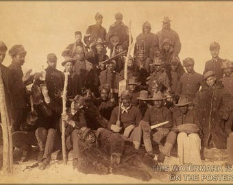 Poster, Many Sizes Available; Buffalo Soldiers Of The 25Th Infantry, Some Wearing Buffalo Robes, Ft. Keogh, Montana C1890
