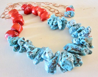 Fire Red Coral & Turquoise Nugget LUXE Necklace - Copper Chain - Super Long - Etsy Jewelry - catROCKS - Grace and Frankie - Statement - Teal