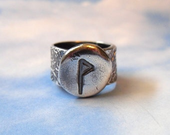 Ancient Rune Silver Ring - Wunjo- Joy - Viking & Anglosaxon Runic letter - handmade rustic fine silver ring - free shipping in USA