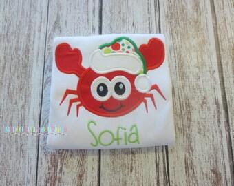 Fun Christmas Crab Appliqued Shirt - Embroidered, Personalized, Monogram, Christmas, Crab, Christmas Crab Shirt, Beach, Girls or Boys