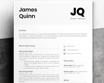 Professional Resume Template | Modern Resume Template for Word | Instant Download | 1 and 2 Page Resume | Mac & PC | Cover Letter | James