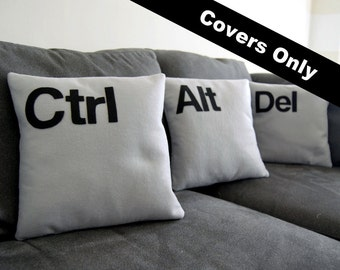 """Ctrl - Alt - Del  Three Pillow Set- COVERS ONLY As seen on CBS """"Two and a Half Men"""""""
