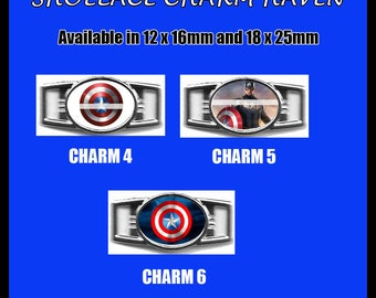 CAPTAIN AMERICA Shoelace Charm  Paracord Bracelet Charm Oval Charm 12 x 16mm or 18 x 25mm Charms