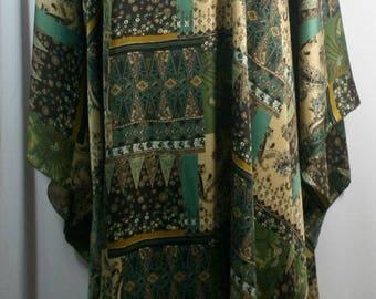 Plus size caftan/kaftan, shamoz silk or charmeuse fabric, green/brown tone or brown tone, mixed pattern, size 1X-2X or 3X-4X