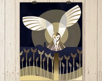 LIMITED EDITION PRINT, Barn Owl art print, owl print, owl painting, owl flying design, owl design, owl artwork, bird artwork, bird art print