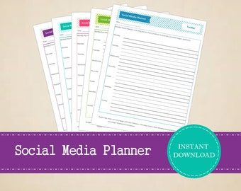 Colorful Weekly Social Media Content Planner for multiple platforms - Printable and Editable Weekly Planner - INSTANT PDF DOWNLOAD - 5 Pages