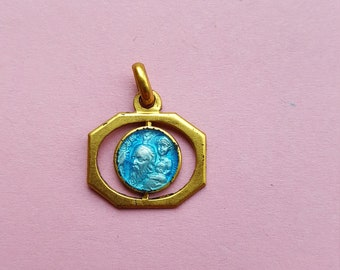 Religious antique French gold plated/vermeil blue enameled catholic medal pendant of Saint Christopher.
